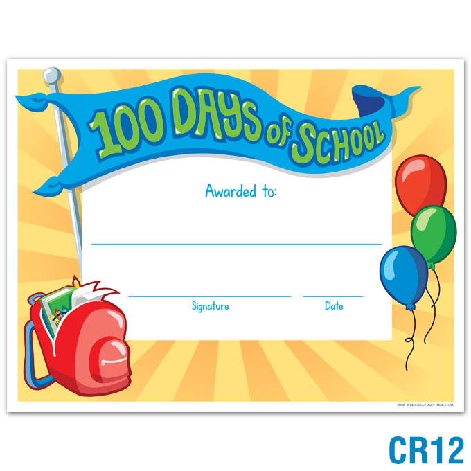 100 Days of School Certificate: click to enlarge
