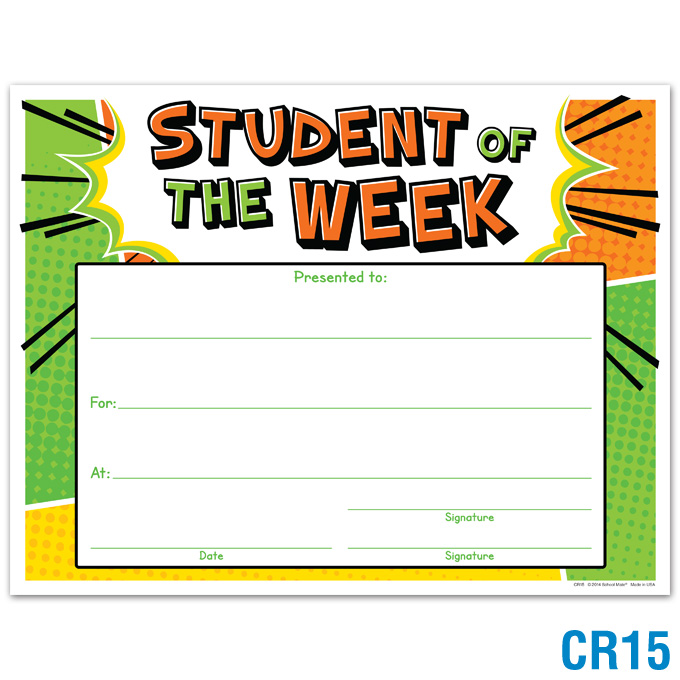 Student of the Week Award: click to enlarge
