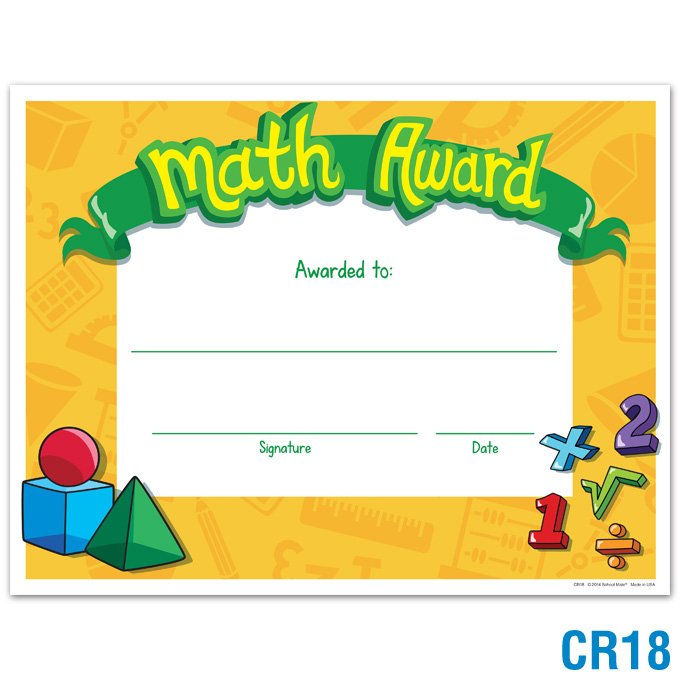 Math Award: click to enlarge