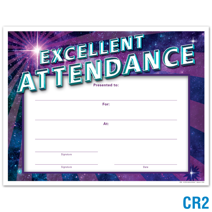 Excellent Attendance Certificate: click to enlarge