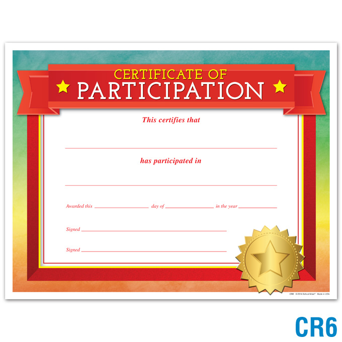 Certificate of Participation: click to enlarge