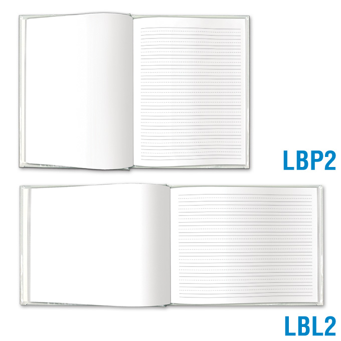 Blank Book Large - Blank & Primary-Lined Pages: click to enlarge