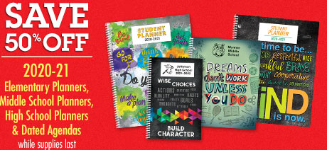 50% Off Primary Planners, Elementary Planners, and Dated Agendas
