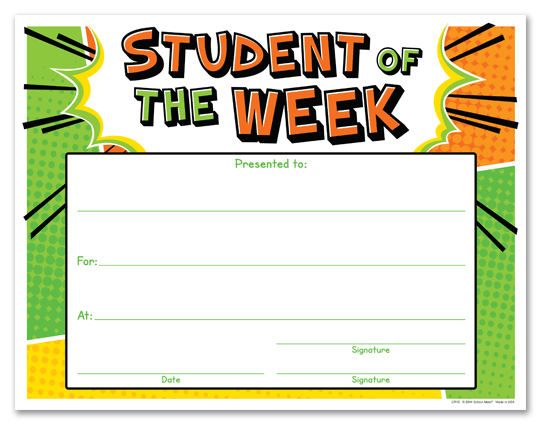 Student of the month poster template for Student of the week certificate template free