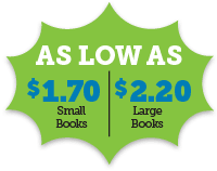 As low as $2.20 for 28-page book and $2.65 for 60-page book