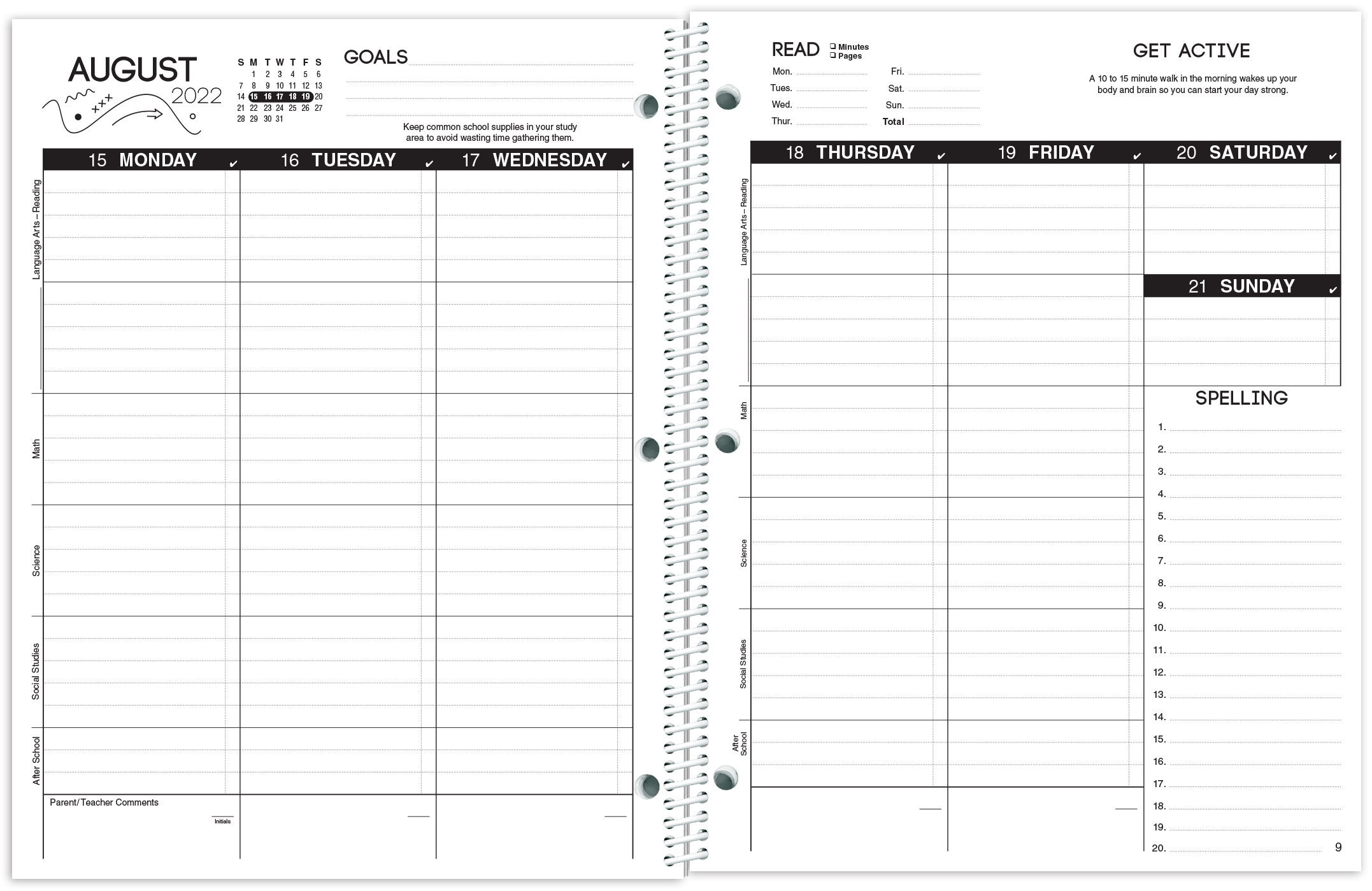 Budget Classic Planner Spread