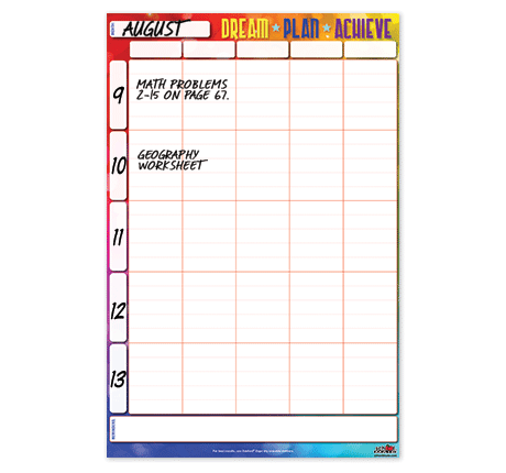 Student Events Agenda Wall Chart