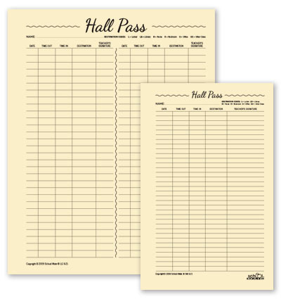 two sided hall pass sheet view larger