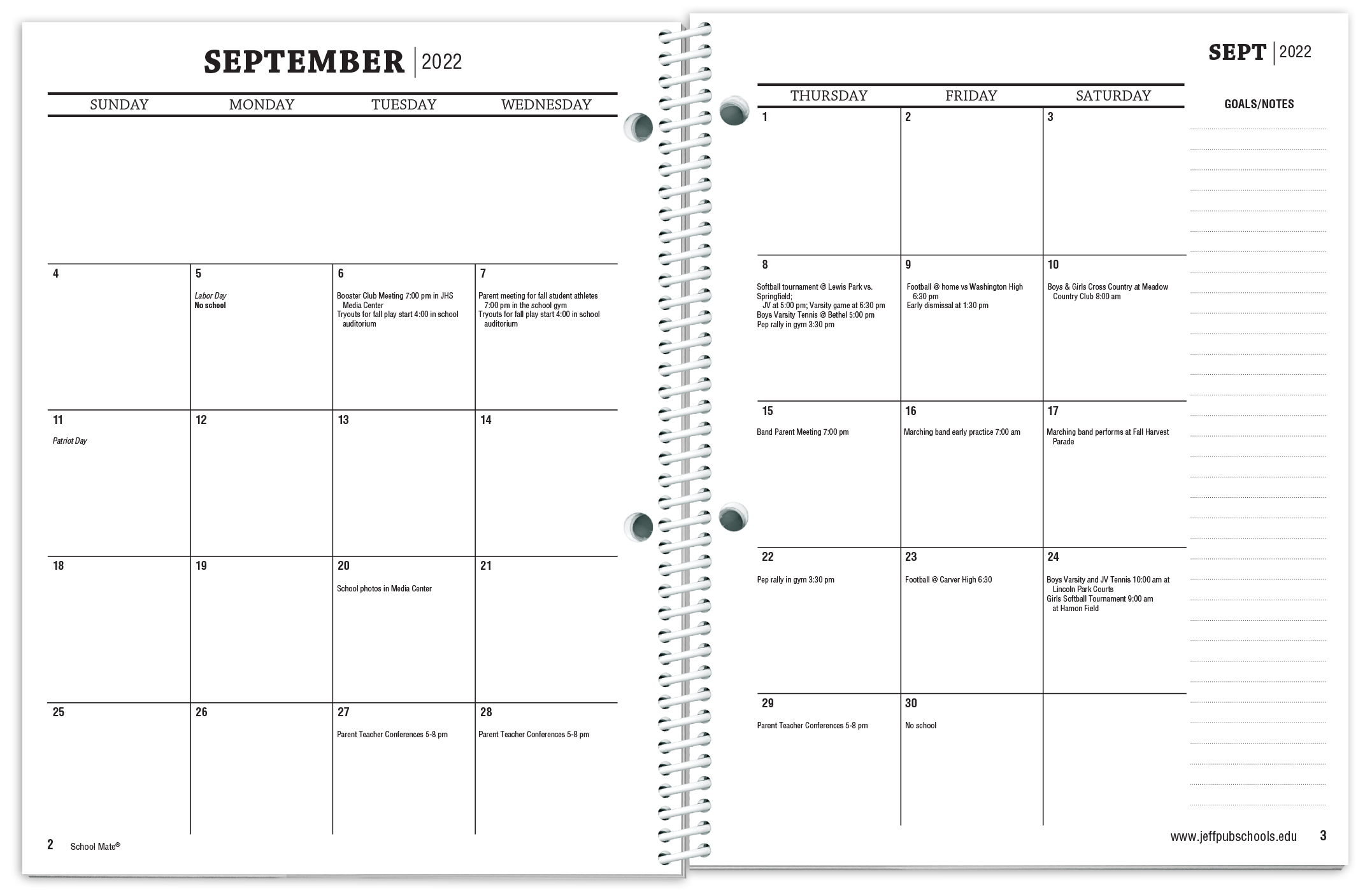 Sample Agenda Planner | Student Planners Features Pricing School Mate